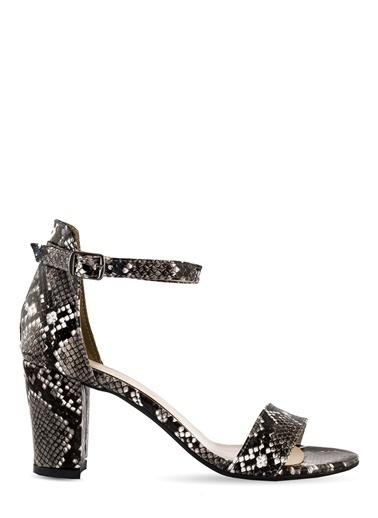 Sole Sisters Topuklu Sandalet Siyah Yılan - Ada Siyah